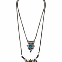 DARK RHINESTONE DOUBLE-ROW NECKLACE