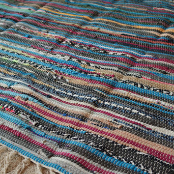 Perfect Rag Rug / Bright Large Scrap Multi Color Area Rug / Hand Woven Floor Mat / Boho Rug / Vegan  FREE SHIPPING