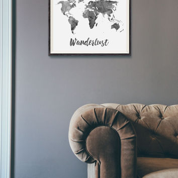 Wanderlust Print - Watercolor World Map Print - Travel Quote World Map - Black Watercolor Map - World Map Quote - Travel Decor - Wall Art