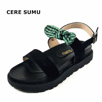 2018 Female Spring Summer Bowtie Genuine Natural Cow Suede Leather Ankle Strap Gladiator Platform Wedges Sandals Shoes Women
