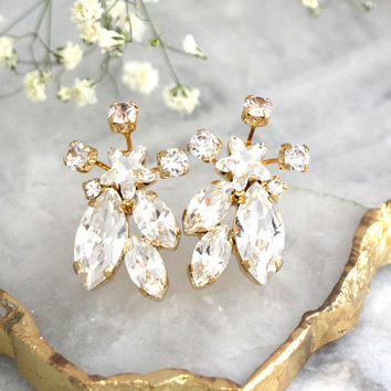 Bridal Earrings, Bridal CrystaL Earrings, White Crystal Cluster Earrings, Bridesmaids Earrings, Swarovski Crystal Earrings, Bridal Studs