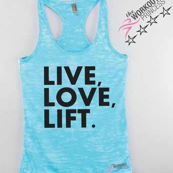 Live Love Lift , Workout Tanks for Women, Fitspiration tanks for Women