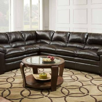 2 pc Bingo collection brown faux leather upholstered sectional sofa