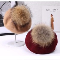 Winter women casual wool berets caps Thick warm Raccoon fur pom pom knitted cashmere berets hats Winter girl's cap