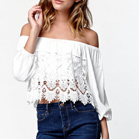 LA Hearts Crochet Overlay Off-The-Shoulder Top at PacSun.com