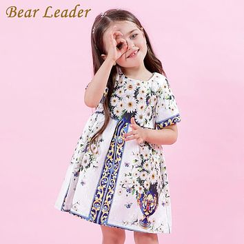 Bear Leader Girls Dress 2017 New Autumn European and American Style Princess Dresses Flowers Printing Children Clothing For 3-8Y