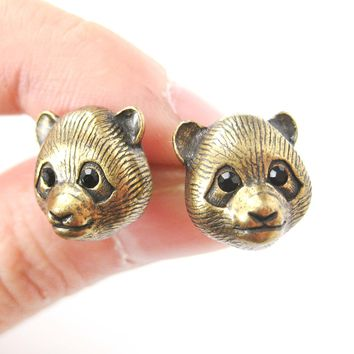Panda Teddy Bear Realistic Animal Stud Earrings in Brass | Animal Jewelry