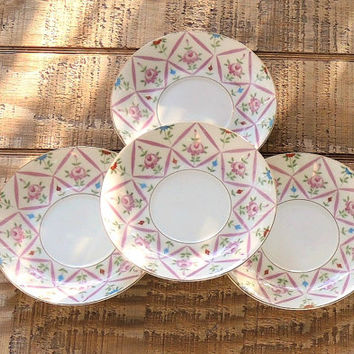 On Sale Lefton Sweet Cottage Style Pink Saucers Set of 4 Cottage Style Elegant Vintage Wedding Replacement China, Marked #3188