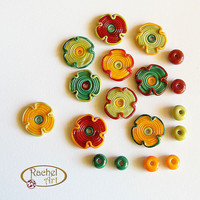 Lampwork Beads, Lampwork Flower Glass Beads, Handmade Lampwork Glass Beads Disc Set (18 )