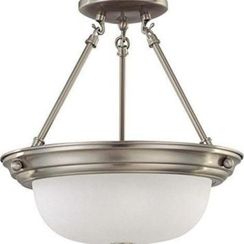 "Nuvo 60-3295 - 13"" Semi Flush Mount Ceiling Light in Brushed Nickel Finish"