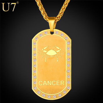 U7 2016 Stainless Steel 12 Zodiac Signs Necklace For Women Dog Tags Men Birthday Gift Gold Plated Amulet 12 Constellations P693