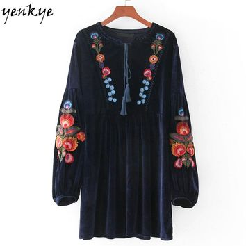 Autumn Vintage Women Velvet Dress Lantern Sleeve Lace Up O Neck Loose Casual Mini Floral Embroidery Dresses Vintage