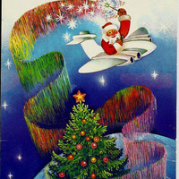 Santa Claus, plane, Vintage Russian Postcard, Christmas, Happy New Year, print 1986