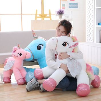 1pc 50/60/90cm Kawaii Unicorn Plush Toys Giant Stuffed Animal Horse Toys for Children Soft Doll Home Decor Lover Birthday Gift