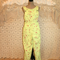 Vintage Floral Overalls Women Grunge Pants Jumpsuit Lime Green + Pink Linen Cotton Coldwater Creek Vintage Clothing Medium Womens Clothing