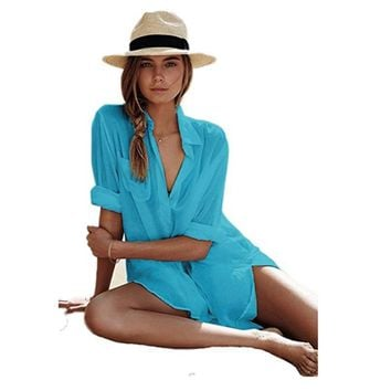 Thin Cotton Shirts Beach Long Sleeves Sexy Big Size Beach Clothes Women Sunscreen  Beach Dress Tunic Beachwear