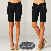 Linen Bermuda Shorts-Black (Sm) | Jane Divine Boutique