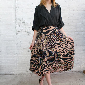 80s animal print dress / vintage jungle safari tiger stripe neutral minimalist deep v drapey dress