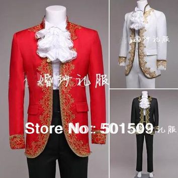 Free ship mens period embroidery jacket with pants Medieval Renaissance stage performance /Prince charming fairy tale William