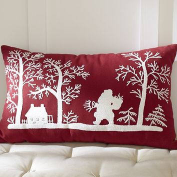 Embroidered Santa Indoor/Outdoor Pillow