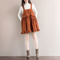 Buy Fancy Show Corduroy Ruffled Jumper Dress | YesStyle