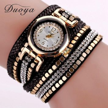 Duoya Brand New Luxury Rivets Crystal Gold Wrist Watch Women Leather Bracelet Watches Casual Vintage Quartz Watches DY043