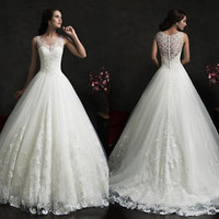 2015 White\Ivory Lace Wedding Dress Bridal Gown Custom Size 6 8 10 12 14 16++