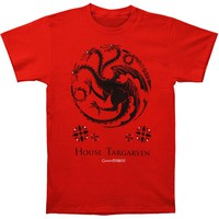 Game Of Thrones Men's  House Of Targaryen T-shirt Red Rockabilia