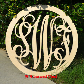 18 inch Circle BORDER Vine Connected Letter Monogram, Wedding Nursery letter