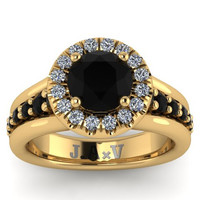 Black Diamond Halo Engagement Ring Anniversary Classic Engagement 14K Yellow Gold Ring With 6.5mm Natural Black Diamond Center-V1110