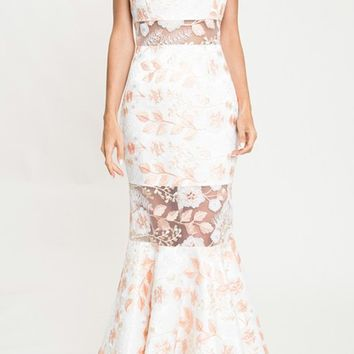 Rosy Reflection White Floral Pattern Sheer Mesh Sleeveless Round Neck Mermaid Maxi Dress
