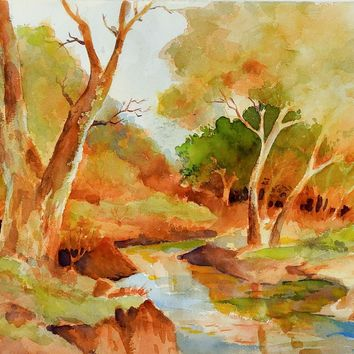 Vibrant Fall Landscape Watercolor Painting