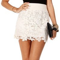 SALE-Ivory Banded Crochet Skirt