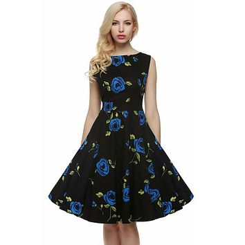 Floral Swing Summer Dress in Black with Blue Roses