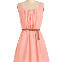 ModCloth Pastel Mid-length Sleeveless A-line Rules of Strum Dress in Coral