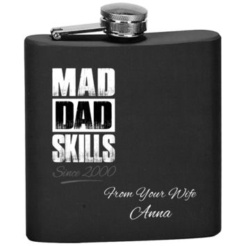 Mad Dad Skills Flask With Personal Message From Wife For Husband - Premium Quality Made In USA - Personal Gift For Father From Her