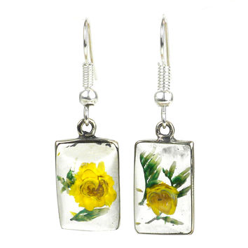 Nahua Flower Rectangular Earrings
