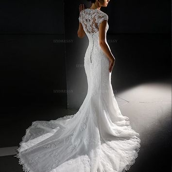 2016 Junoesque Mermaid Organza Corded Lace Wedding Dresses Fashion Sparkling Lace Straps Beading Appliques Bride Dress Plus Size