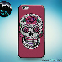Sugar Skull Art Dia De Los Purple Rubber Case for iPhone 7 6s 6 Plus 5s 5 5c SE