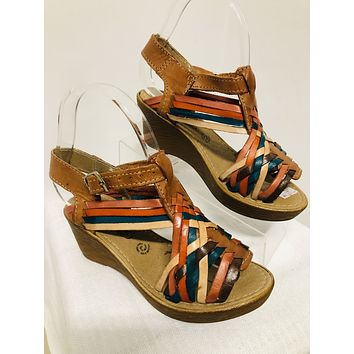 Mexican Leather Wedges Earth Tones