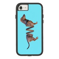 Funny Dachshund Teal Slinky Weiner Dog Humor Case-Mate Tough Extreme iPhone 7 Case