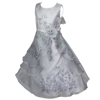Little Girls Embroidered Silver/Gray Flower Girl/Pageant Dress Gown with Sequine and Floral Detail 4T - 14Ye
