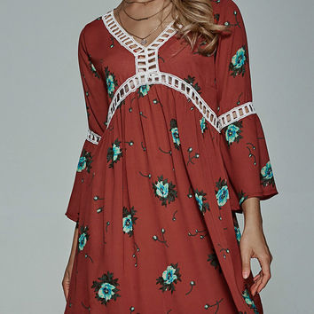 Red Flare Sleeve Floral Dress