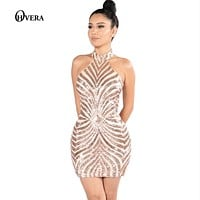 Women Sexy Gold Sequined Back zipper Turtleneck Dresses 2017 Strap Glitter Sequined Backless Christmas New Party Dress Vestidos