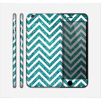 The Teal & White Sharp Glitter (Print) Chevron Skin for the Apple iPhone 6 Plus