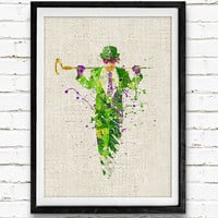 The Riddler Watercolor Art Print, Batman Superhero, Boys Room Wall Art, Home Decor, Not Framed, Buy 2 Get 1 Free!