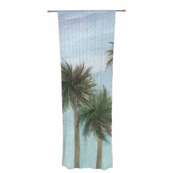 """Rosie Brown """"Tropical Forest"""" Blue Green Coastal Nature Watercolor Painting Decorative Sheer Curtain"""