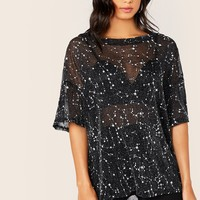 Drop Shoulder Galaxy Mesh Top Without Bra