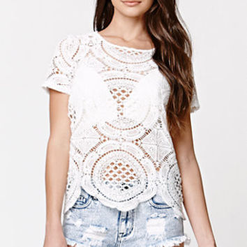 Hollow Out Fashion Round-neck Short Sleeve Women's Fashion Geometric Summer Lace Stylish Tops = 5895674561