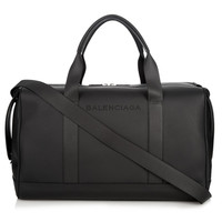 Black Rubberized Leather Holdall Bag by Balenciaga